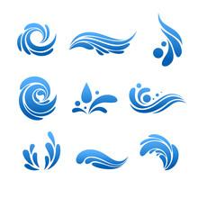 Water Drop And Splash Icon Vec...