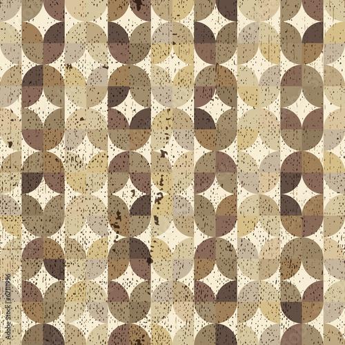 Ornamental worn textile geometric seamless pattern, vector abstr