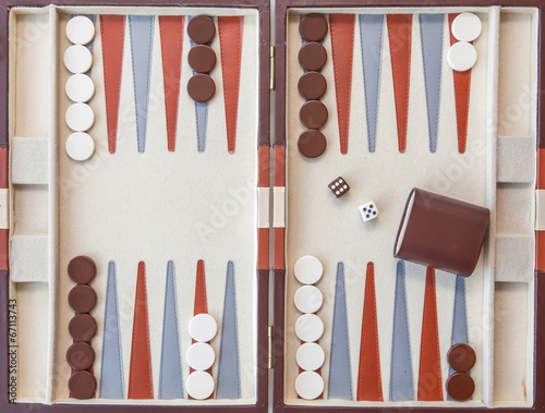 Obraz na plátne Backgammon set with dice
