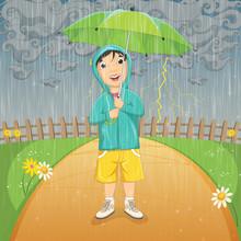 Little Kid Standing Under The Rain With Umbrella