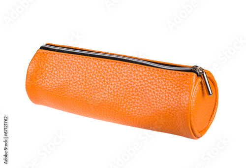 Fotomural orange pencil case isolated on white background