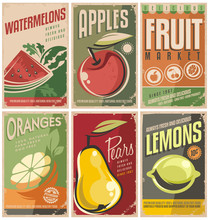 Collection Of Retro Fruit Post...