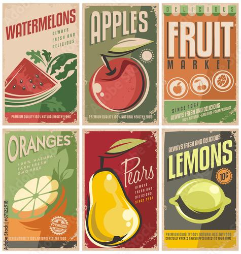 Plakat na zamówienie Collection of retro fruit poster designs