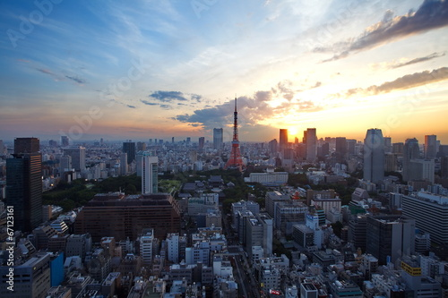 Photo Stands Tokyo Tokyo city and tokyo tower at sunset time
