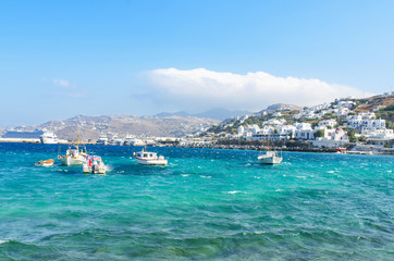 Small Fishing boats in the Famous Mykonos Island.