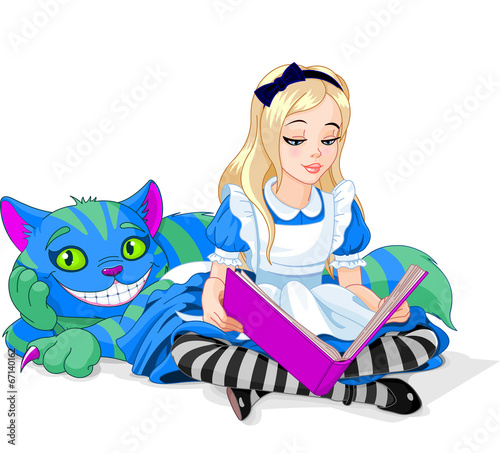 Printed kitchen splashbacks Fairytale World Alice and Cheshire Cat
