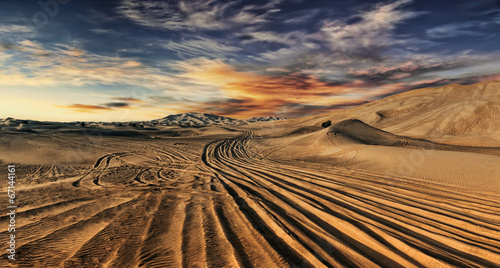 Poster Desert Dubai desert with beautiful sandunes during the sunrise