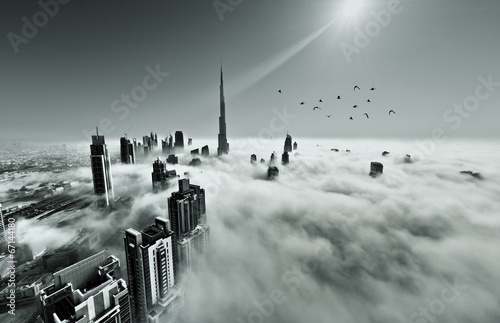 Montage in der Fensternische Dubai Dubai skyline in fog