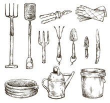 Set Of Gardening Tools Drawing...