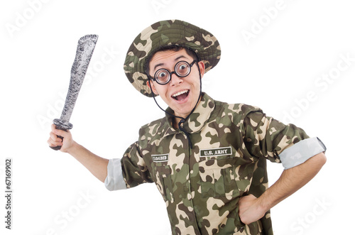 Canvas Prints Military Funny soldier with knife on white