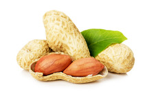 Peanut With Leaves Isolated On...