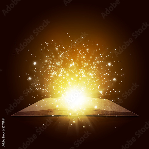 Old open book with magic light and falling stars Poster