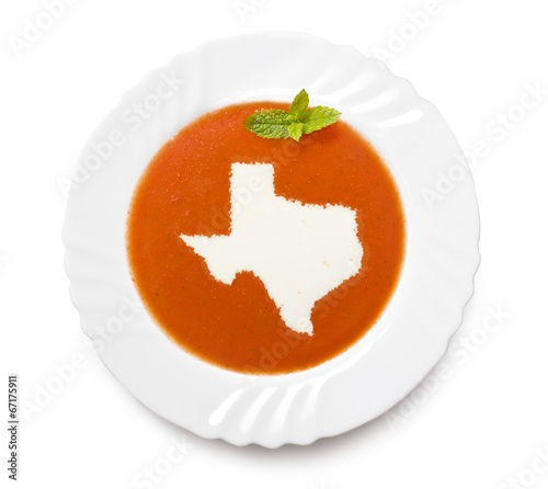 Foto op Plexiglas Texas Plate tomato soup with cream in the shape of Texas.(series)