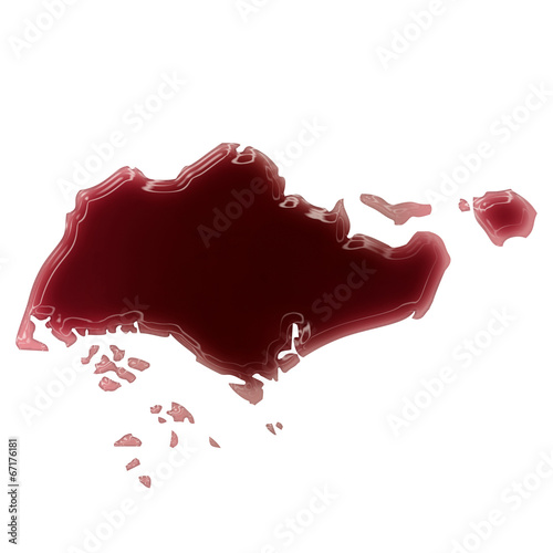 Photo  A pool of blood (or wine) that formed the shape of Singapore. (s