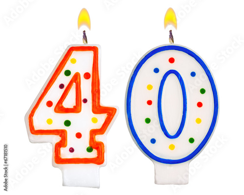 Birthday Candles Number Forty Isolated On White Background Kaufen Sie Dieses Foto Und Finden Ahnliche Bilder Auf Adobe Stock
