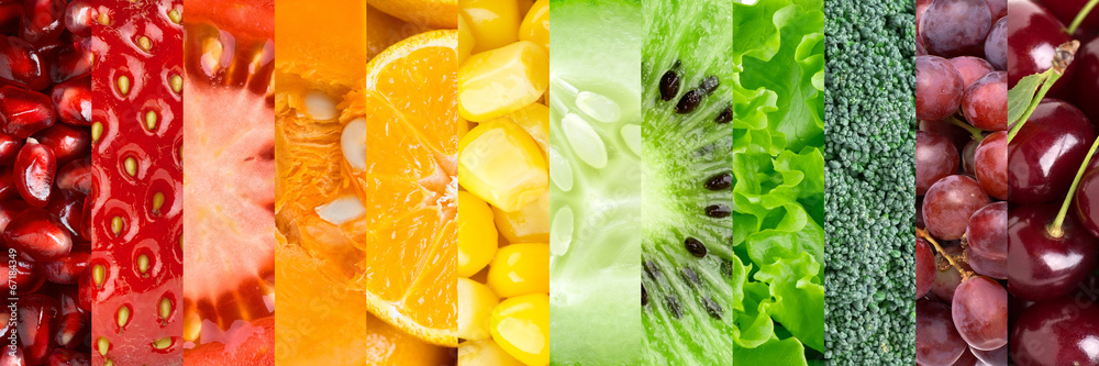 Fototapety, obrazy: Collection with different fruits and vegetables