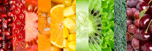 Stickers pour porte Magasin alimentation Collection with different fruits and vegetables