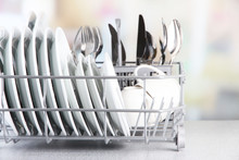 Clean Dishes Drying On Metal D...