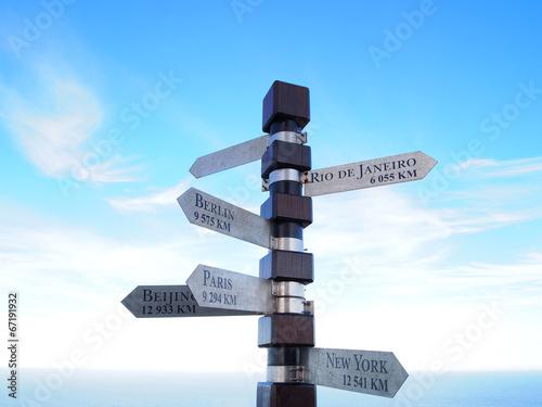 Valokuva  Cities signpost. Cape of Good Hope