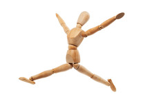 Wood Model With Jumping Pose