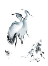 Asian Crane Watercolor