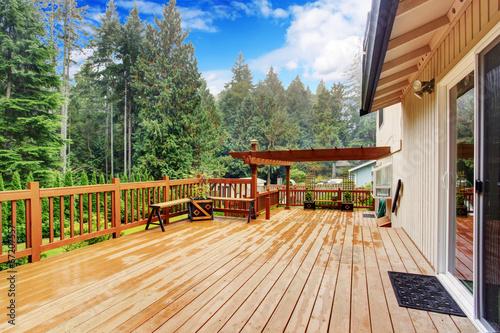 Fototapeta Walkout deck overlooking backyard landscape obraz na płótnie