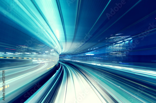 Automated guide-way train at night Wallpaper Mural