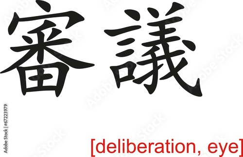 Chinese Sign for deliberation, eye Poster