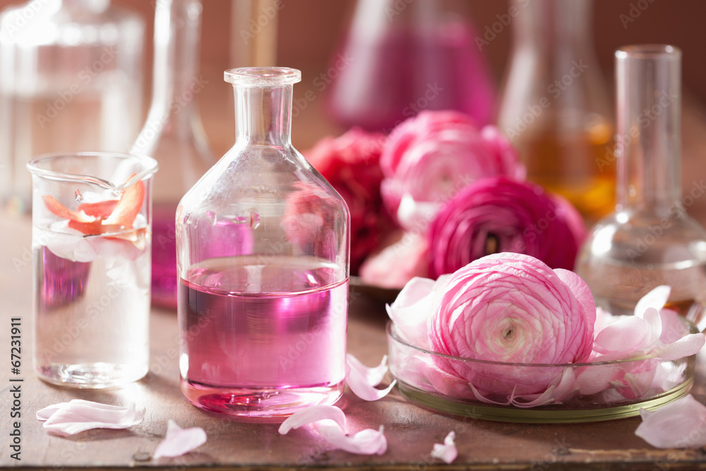 Fototapety, obrazy: alchemy and aromatherapy set with ranunculus flowers and flasks