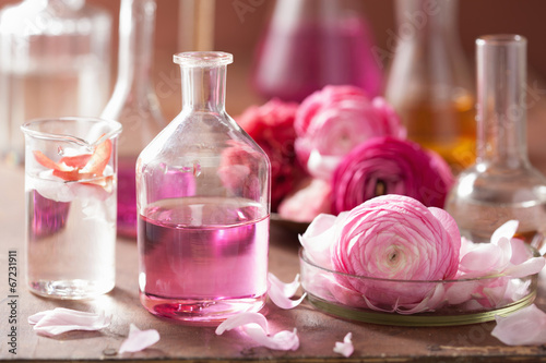 Fotografie, Obraz  alchemy and aromatherapy set with ranunculus flowers and flasks