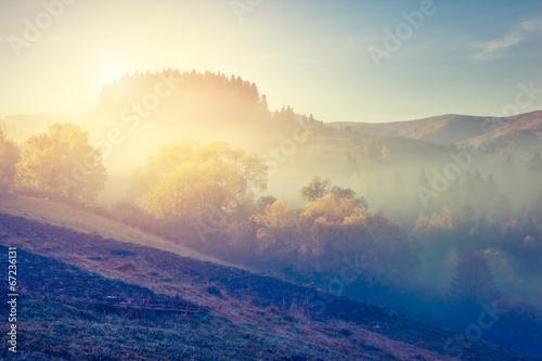 Poster Bleu nuit retro mountain landscape