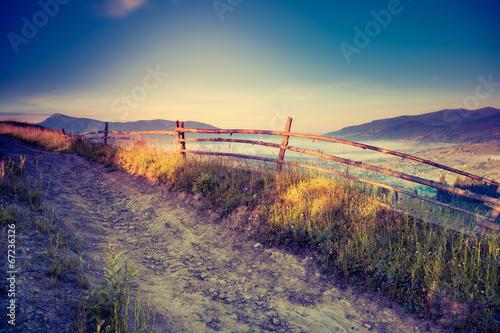Foto op Canvas Herfst retro mountain landscape