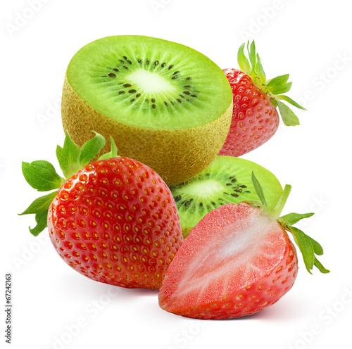 Kiwi slices and fresh strawberry isolated on white background