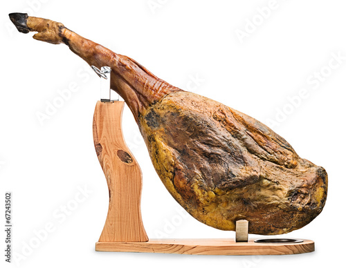 Foto  Iberian ham isolated