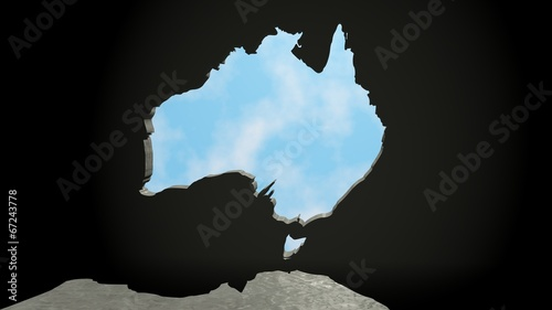 Fotobehang Draw australian continent as keyhole