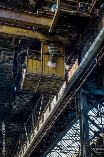 Aluminium Prints Old abandoned buildings DDR Holzkran Fabrik