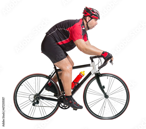 Foto op Aluminium Fietsen obese cyclist with difficulty riding a bicycle