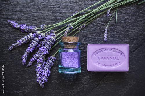 Fotobehang Lavendel Lavande savon ardoise