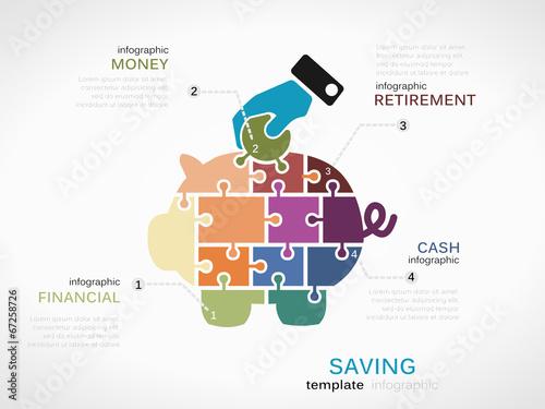 Fotografía  Saving concept infographic template with piggy bank