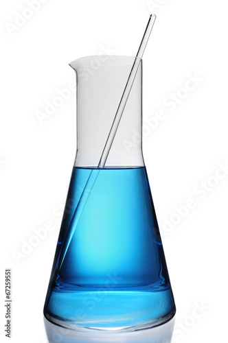 laboratory flask with a blue liquid Wallpaper Mural