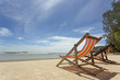 Beach chairs on a sandy beach facing the sea
