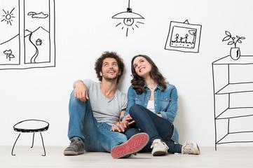 Szczęśliwa para marzy o nowym domu