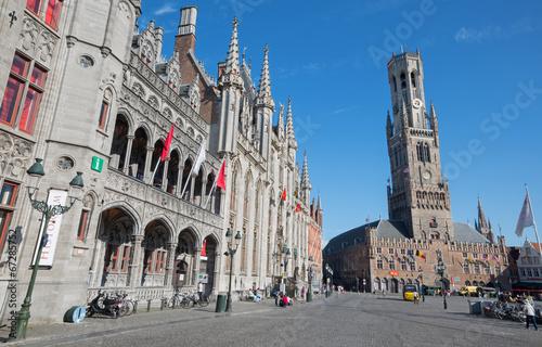 Bruges - Grote markt with the Belfort van Brugge and Historium