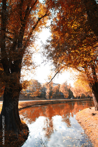 Photo Stands New York Bike Path in the autumn park