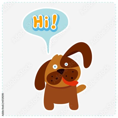 Fotografie, Obraz  cute cartoon dog and a speaking bubble - vector illustration