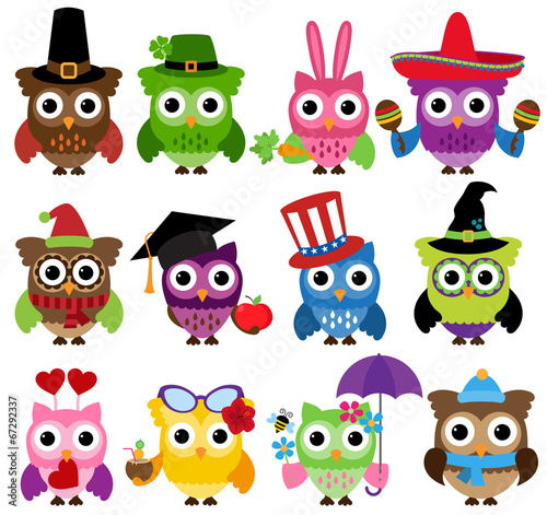 Canvas Prints Creatures Vector Set of Cute Holiday and Seasonal Owls