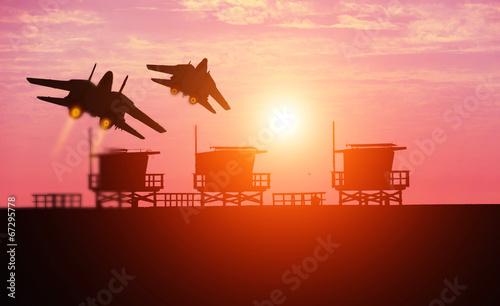 Photo Venice Beach and f-14 squadron