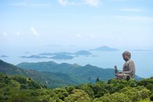 Hong Kong, Lantau Island Giant Buddha Of Po Lin Monastery With B