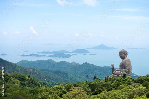 Hong Kong, Lantau Island Giant Buddha of Po Lin Monastery with b Wallpaper Mural