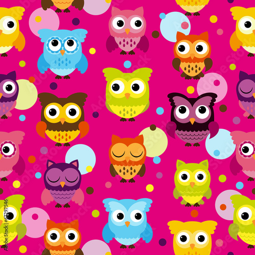 Canvas Prints Creatures Seamless and Tileable Vector Owl Background Pattern
